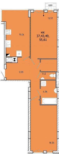 ЖК SHUTTLE: планировка 2-комнатной квартиры 68.79 м2, тип 2-68.79