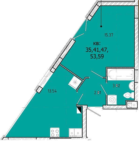 ЖК SHUTTLE: планировка 1-комнатной квартиры 35.54 м2, тип 1-35.54