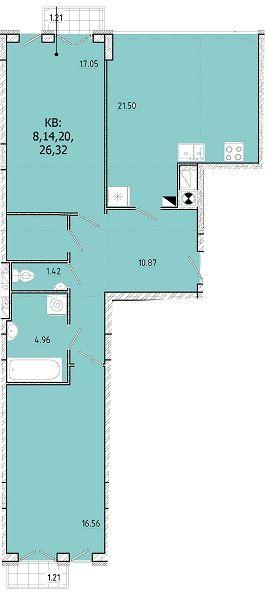 ЖК SHUTTLE: планировка 2-комнатной квартиры 77.78 м2, тип 2-77.78