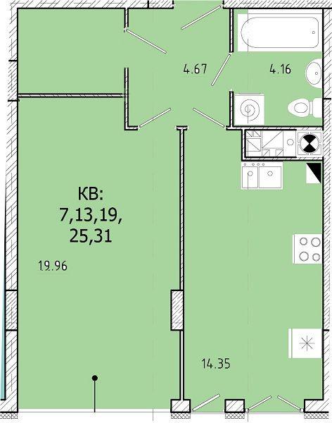 ЖК SHUTTLE: планировка 1-комнатной квартиры 46.14 м2, тип 1-46.14