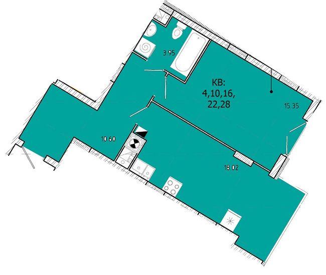 ЖК SHUTTLE: планировка 1-комнатной квартиры 47.92 м2, тип 1-47.92