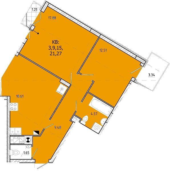 ЖК SHUTTLE: планировка 2-комнатной квартиры 69.25 м2, тип 2-69.25