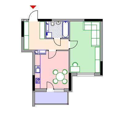ЖК Демеевка: планировка 1-комнатной квартиры 50.5 м2, тип 1-50.5