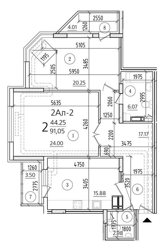 ЖК Паркова Вежа: планування 2-кімнатної квартири 91.05 м2, тип 2Ал-2
