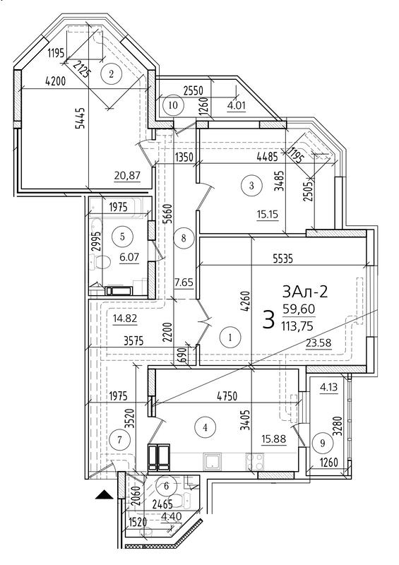 ЖК Паркова Вежа: планування 3-кімнатної квартири 113.75 м2, тип 3Ал-2