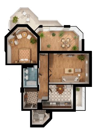 ЖК Паркова Вежа: планування 2-кімнатної квартири 105.44 м2, тип 2Вл
