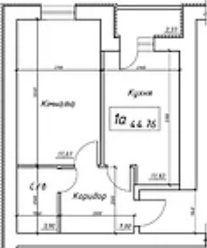 вул. Інтернаціоналістів, 1: планування 1-кімнатної квартири 44.76 м2, тип 1а