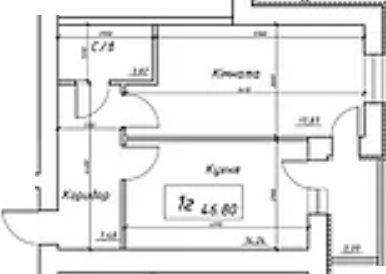 вул. Інтернаціоналістів, 1: планування 1-кімнатної квартири 46.8 м2, тип 1г