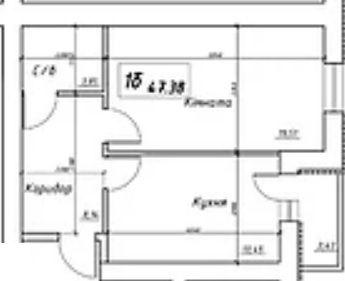 вул. Інтернаціоналістів, 1: планування 1-кімнатної квартири 47.38 м2, тип 1б