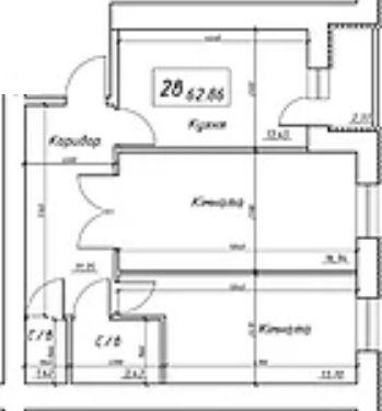 вул. Інтернаціоналістів, 1: планування 2-кімнатної квартири 62.86 м2, тип 2в