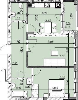 ЖК Бейкер Стріт. Шерлок Холмс: планування 2-кімнатної квартири 66.09 м2, тип 2-66.09