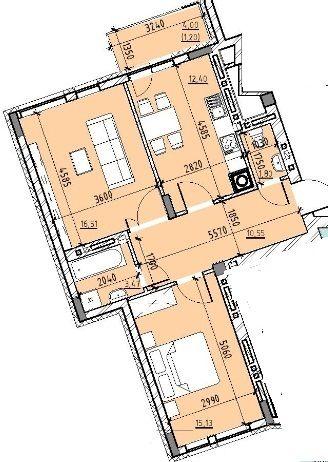 ЖК Бейкер Стріт. Шерлок Холмс: планування 2-кімнатної квартири 59.86 м2, тип 2-59.86