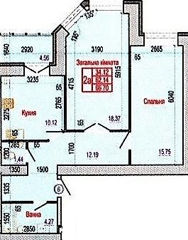 ул. Героев Крут, 60: планировка 2-комнатной квартиры 66.7 м2, тип 2А
