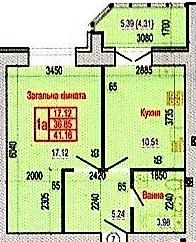 ул. Героев Крут, 60: планировка 1-комнатной квартиры 41.16 м2, тип 1А