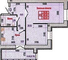 вул. Героїв Крут, 60: планування 1-кімнатної квартири 53.23 м2, тип 1Б