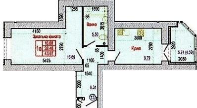 вул. Героїв Крут, 60: планування 1-кімнатної квартири 43.07 м2, тип 1В
