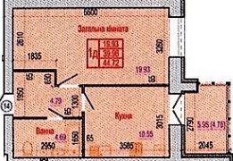 ул. Героев Крут, 60: планировка 1-комнатной квартиры 44.72 м2, тип 1Д