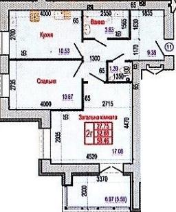 вул. Героїв Крут, 60: планування 2-кімнатної квартири 58.46 м2, тип 2Г