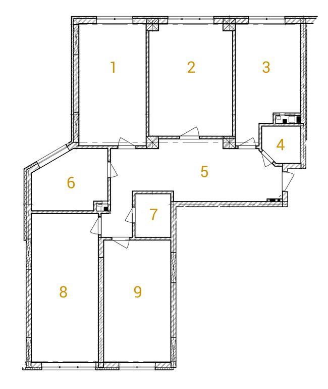 ЖК Сонячна брама: планировка 4-комнатной квартиры 145.3 м2, тип 4-145.30