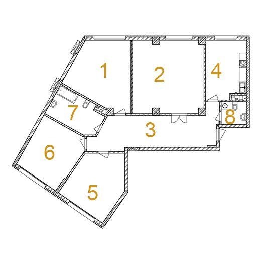 ЖК Сонячна брама: планировка 4-комнатной квартиры 160.6 м2, тип 4-160.60