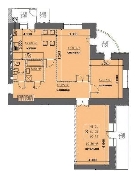 ЖК на Стрийській: планування 3-кімнатної квартири 90.75 м2, тип 3-90.75