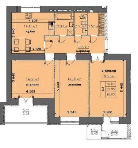 ЖК на Стрийській: планування 3-кімнатної квартири 90.05 м2, тип 3-90.05