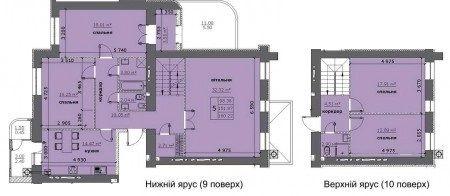 ЖК на Стрийській: планування дворівневої квартири 160.22 м2, тип 5-160.22