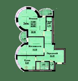 ул. Роксоланы, 16: планировка 2-комнатной квартиры 68.8 м2, тип 2-68.80