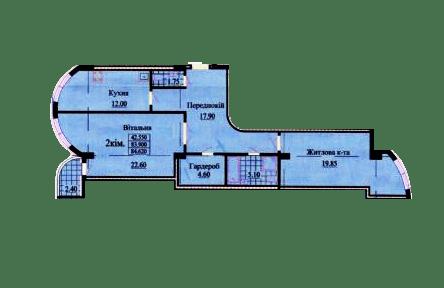 ул. Роксоланы, 16: планировка 2-комнатной квартиры 84.62 м2, тип 2-84.62