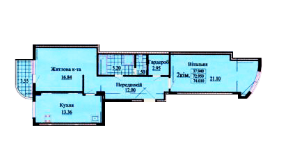ул. Роксоланы, 16: планировка 2-комнатной квартиры 74 м2, тип 2-74