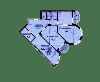 ул. Роксоланы, 16: планировка 2-комнатной квартиры 85.92 м2, тип 2-85.92