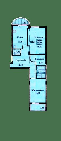 ул. Роксоланы, 16: планировка 2-комнатной квартиры 78.85 м2, тип 2-78.85