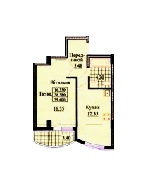 вул. Роксолани, 16: планування 1-кімнатної квартири 39.4 м2, тип 1-39.40
