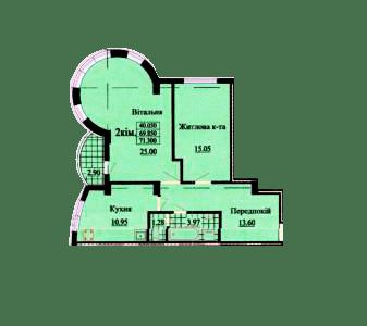 ул. Роксоланы, 16: планировка 2-комнатной квартиры 71.3 м2, тип 2-71.30
