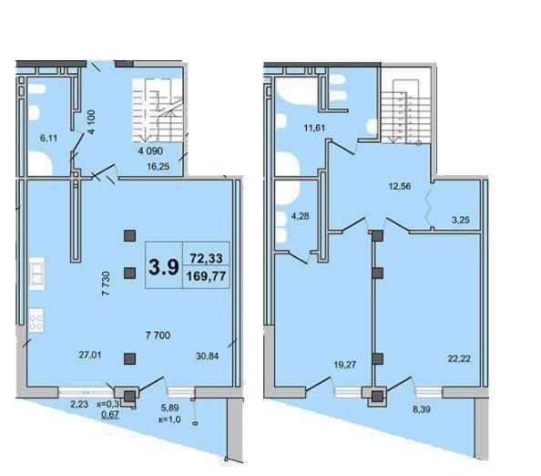 """Клубний будинок """"Гоголівська, 47"""": планування дворівневої квартири 169.77 м2, тип 3.9"""