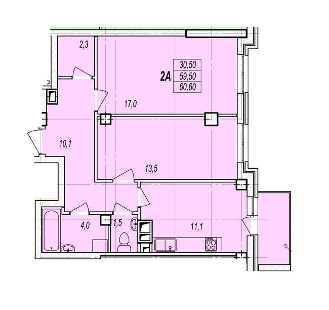ЖК Дмитриевский: планировка 2-комнатной квартиры 60.6 м2, тип 2А