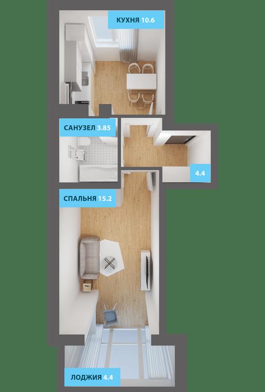 ЖК Якоря: планировка 1-комнатной квартиры 40.4 м2, тип 1-40.4