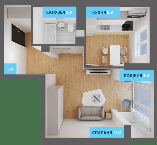 ЖК Якоря: планировка 1-комнатной квартиры 38.2 м2, тип 1-38.2