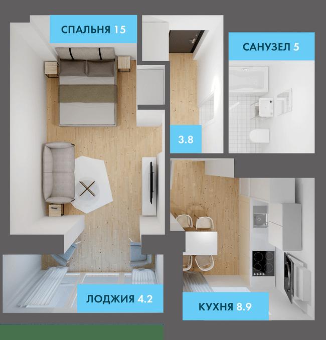 ЖК Якоря: планування 1-кімнатної квартири 38.9 м2, тип 1-38.9