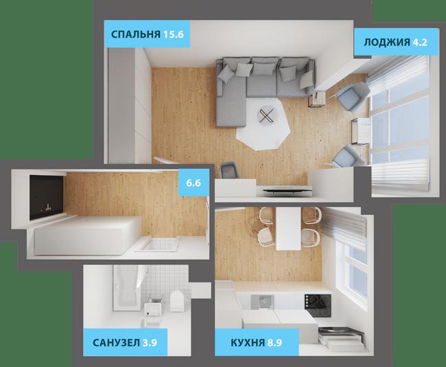 ЖК Якоря: планировка 1-комнатной квартиры 41.1 м2, тип 1-41.1