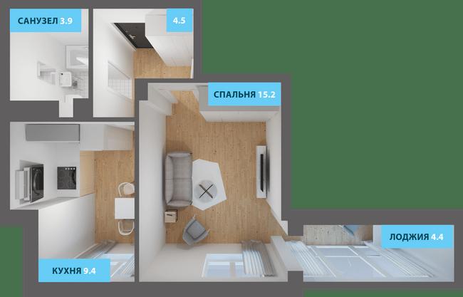 ЖК Якоря: планировка 1-комнатной квартиры 39.2 м2, тип 1-39.2