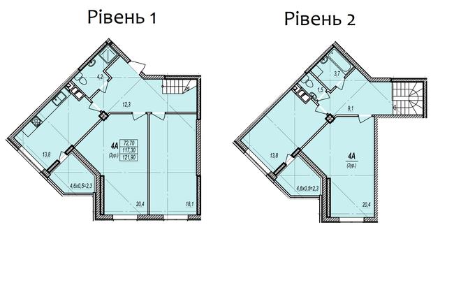 ЖК Дмитриевский: планировка двухуровневой квартиры 121.9 м2, тип 4А