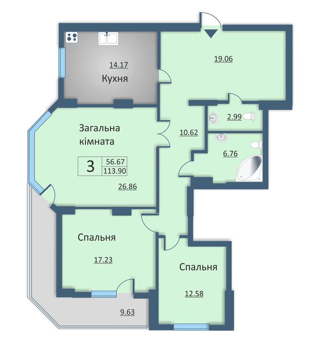 ул. Каунасская, 2а: планировка 3-комнатной квартиры 113.9 м2, тип 3-119.90