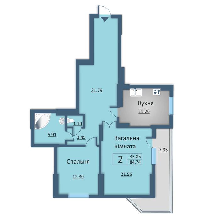 вул. Каунаська, 2а: планування 2-кімнатної квартири 84.74 м2, тип 2-84.74