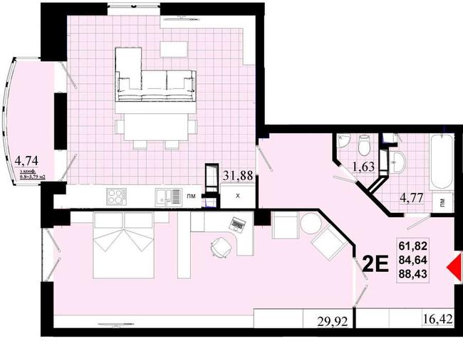 ЖК Златоуст: планування 2-кімнатної квартири 88.43 м2, тип 2Е