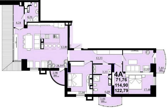 ЖК Златоуст: планировка 4-комнатной квартиры 122.79 м2, тип 4А*