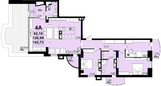 ЖК Златоуст: планування 4-кімнатної квартири 142.73 м2, тип 4А