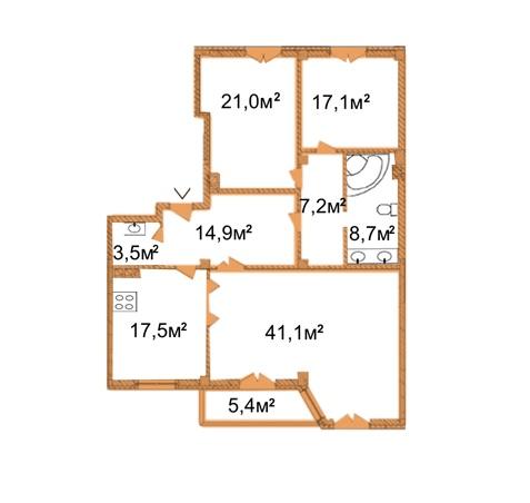 ARCH House: планировка 4-комнатной квартиры 132.8 м2, тип 4-132.8
