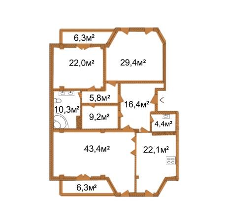 ARCH House: планування 4-кімнатної квартири 167.2 м2, тип 4-167.2