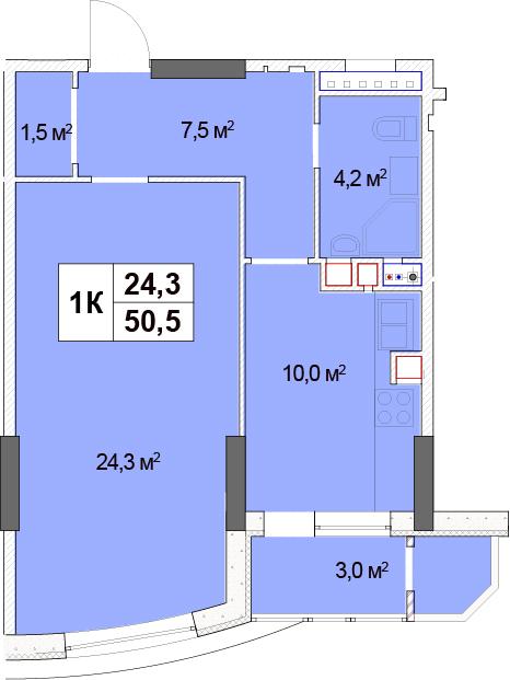 ЖК Solo Park: планування 1-кімнатної квартири 50.5 м2, тип 1-50.5